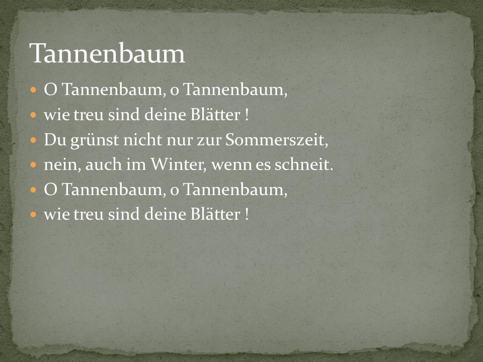 O Tannenbaum, o Tannenbaum, wie treu sind deine Blätter ! Du grünst nicht nur zur Sommerszeit, nein, auch im Winter, wenn es schneit. O Tannenbaum, o