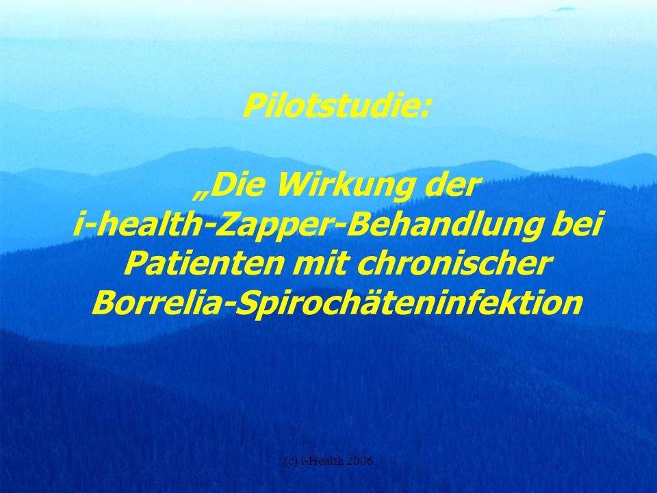 (c) i-Health 2006 Borreliose - viele Ursachen, viele Gesichter Bis vor kurzem waren nur 3 bis 4 verschiedene, weit verbreitete pathologische Spirochäten aus der Borrelia-Familie bekannt: Borrelia burgdorferi sensu stricto/sensu lato (USA) Borrelia afzelii (Europa, Asien) Borrelia garinii (Europa, Asien) 20-30 % aller Zecken in Regionen unter 800 m Meeresspiegel sind laut aktueller Studien mit Borrelia verseucht und sind Überträger dieser Bakterien.