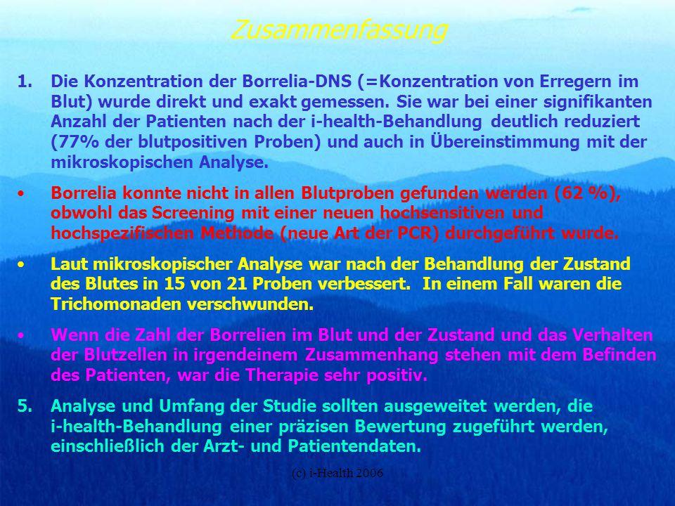 (c) i-Health 2006 Zusammenfassung 1.Die Konzentration der Borrelia-DNS (=Konzentration von Erregern im Blut) wurde direkt und exakt gemessen. Sie war