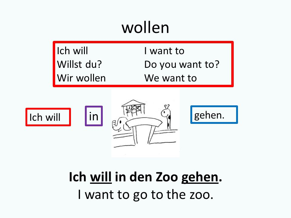 wollen Ich willI want to Willst du?Do you want to.
