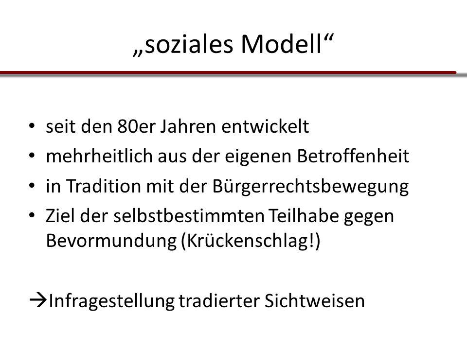 """""""soziales Modell"""" seit den 80er Jahren entwickelt mehrheitlich aus der eigenen Betroffenheit in Tradition mit der Bürgerrechtsbewegung Ziel der selbst"""