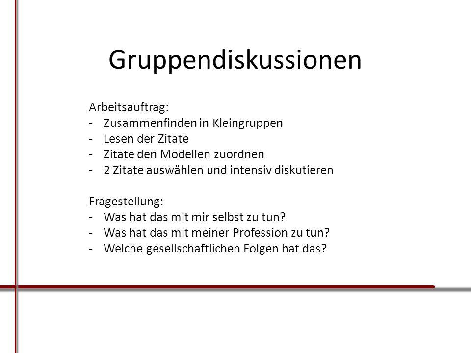Gruppendiskussionen Arbeitsauftrag: -Zusammenfinden in Kleingruppen -Lesen der Zitate -Zitate den Modellen zuordnen -2 Zitate auswählen und intensiv d
