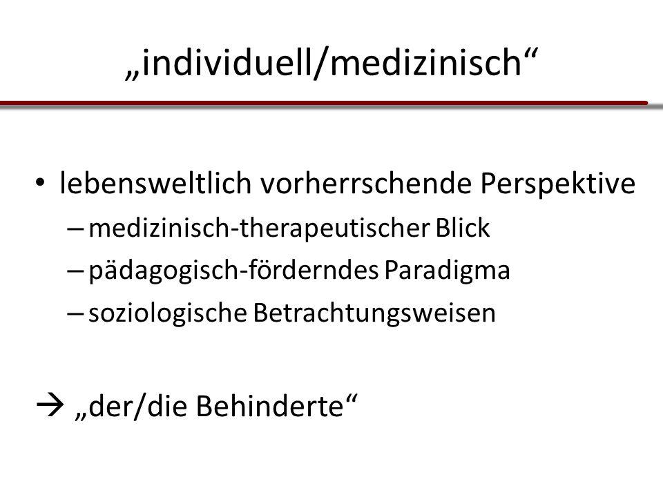 """""""individuell/medizinisch"""" lebensweltlich vorherrschende Perspektive – medizinisch-therapeutischer Blick – pädagogisch-förderndes Paradigma – soziologi"""
