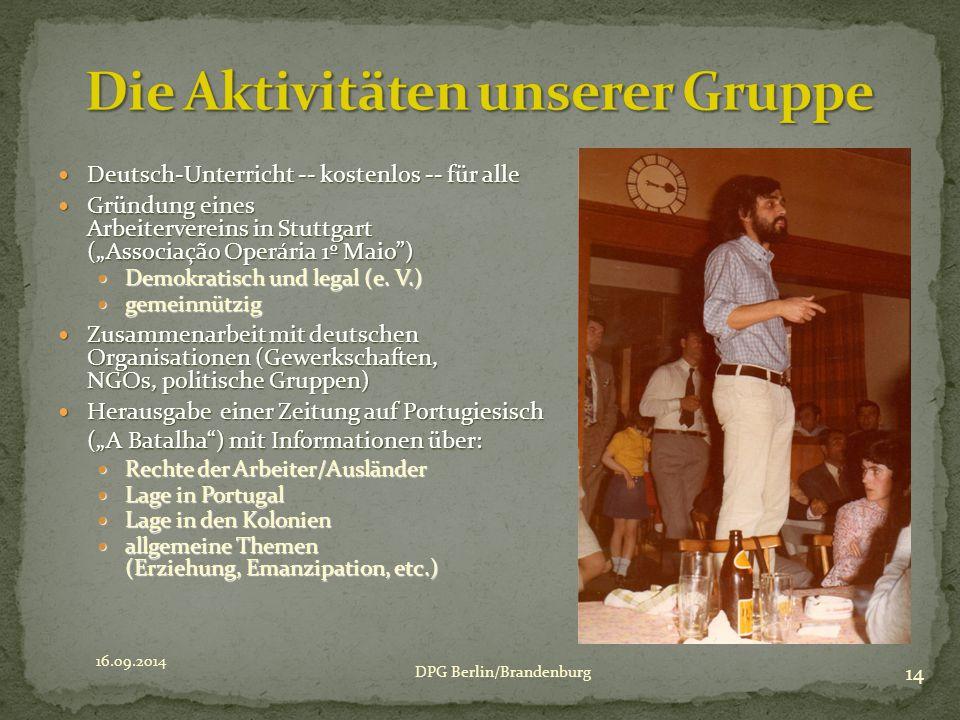 """Deutsch-Unterricht -- kostenlos -- für alle Deutsch-Unterricht -- kostenlos -- für alle Gründung eines Arbeitervereins in Stuttgart (""""Associação Operá"""