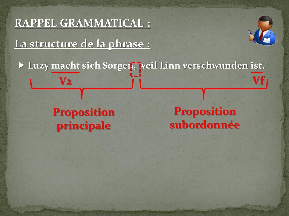 RAPPEL GRAMMATICAL : La structure de la phrase :  Luzy macht sich Sorgen, weil Linn verschwunden ist.  Luzy macht sich Sorgen, weil Linn verschwunde