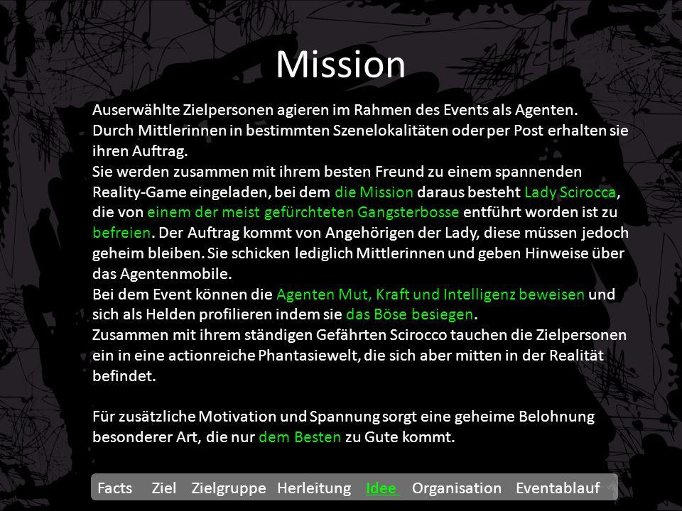Mission Auserwählte Zielpersonen agieren im Rahmen des Events als Agenten. Durch Mittlerinnen in bestimmten Szenelokalitäten oder per Post erhalten si
