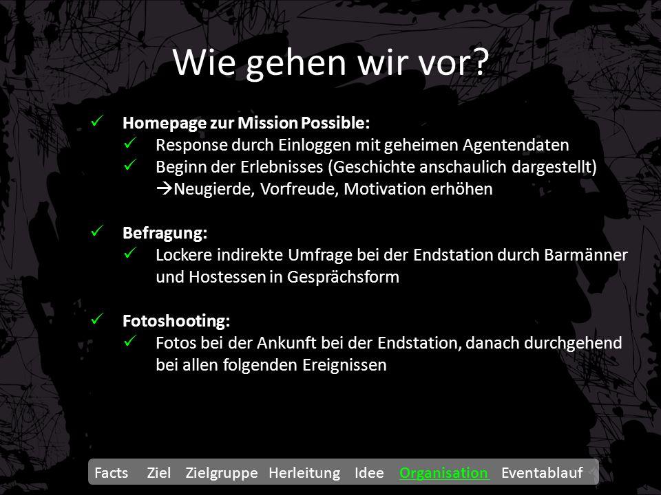 Wie gehen wir vor? Homepage zur Mission Possible: Response durch Einloggen mit geheimen Agentendaten Beginn der Erlebnisses (Geschichte anschaulich da