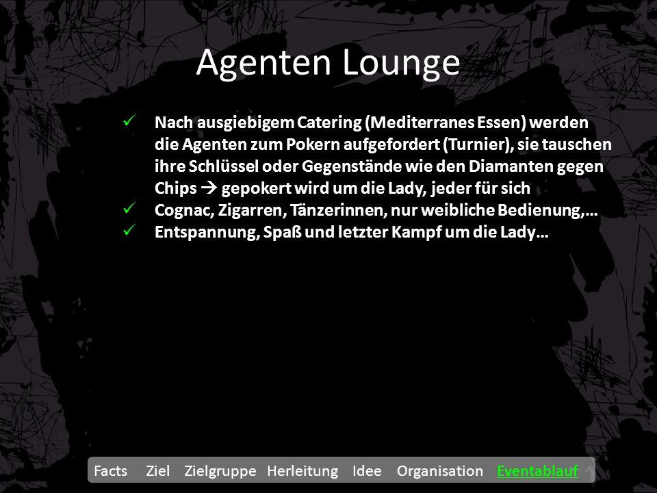 Agenten Lounge Facts Ziel Zielgruppe Herleitung Idee Organisation Eventablauf Nach ausgiebigem Catering (Mediterranes Essen) werden die Agenten zum Po