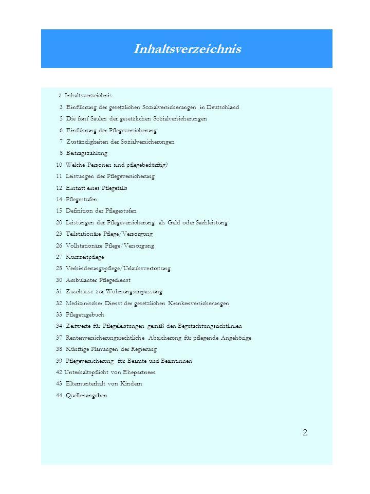 Inhaltsverzeichnis 2 Inhaltsverzeichnis 3 Einführung der gesetzlichen Sozialversicherungen in Deutschland 5 Die fünf Säulen der gesetzlichen Sozialver