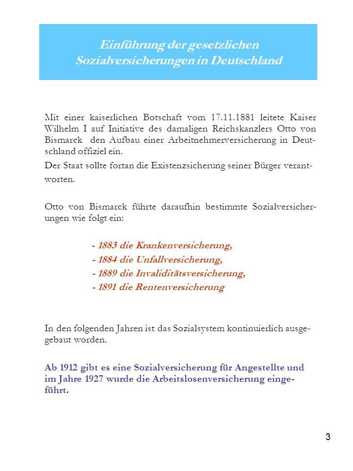 3 Einführung der gesetzlichen Sozialversicherungen in Deutschland Mit einer kaiserlichen Botschaft vom 17.11.1881 leitete Kaiser Wilhelm I auf Initiat