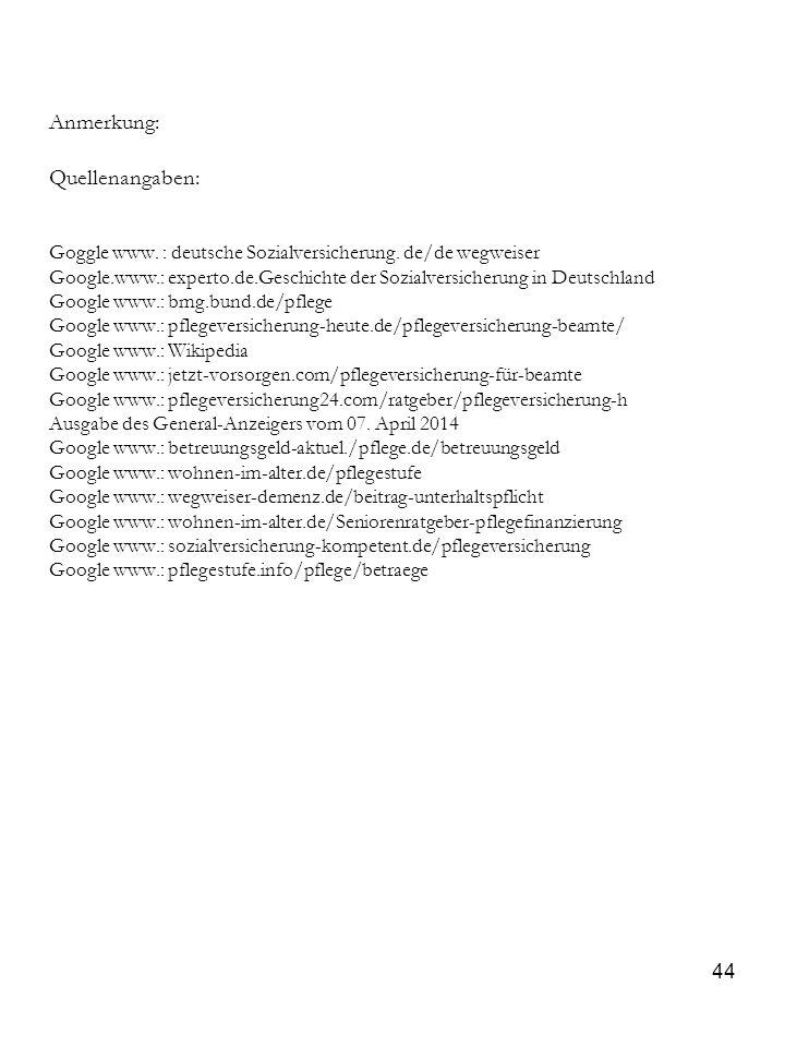 44 Anmerkung: Quellenangaben: Goggle www. : deutsche Sozialversicherung. de/de wegweiser Google.www.: experto.de.Geschichte der Sozialversicherung in