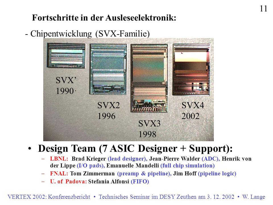 VERTEX 2002: Konferenzbericht Technisches Seminar im DESY Zeuthen am 3. 12. 2002 W. Lange 11 Fortschritte in der Ausleseelektronik: - Chipentwicklung