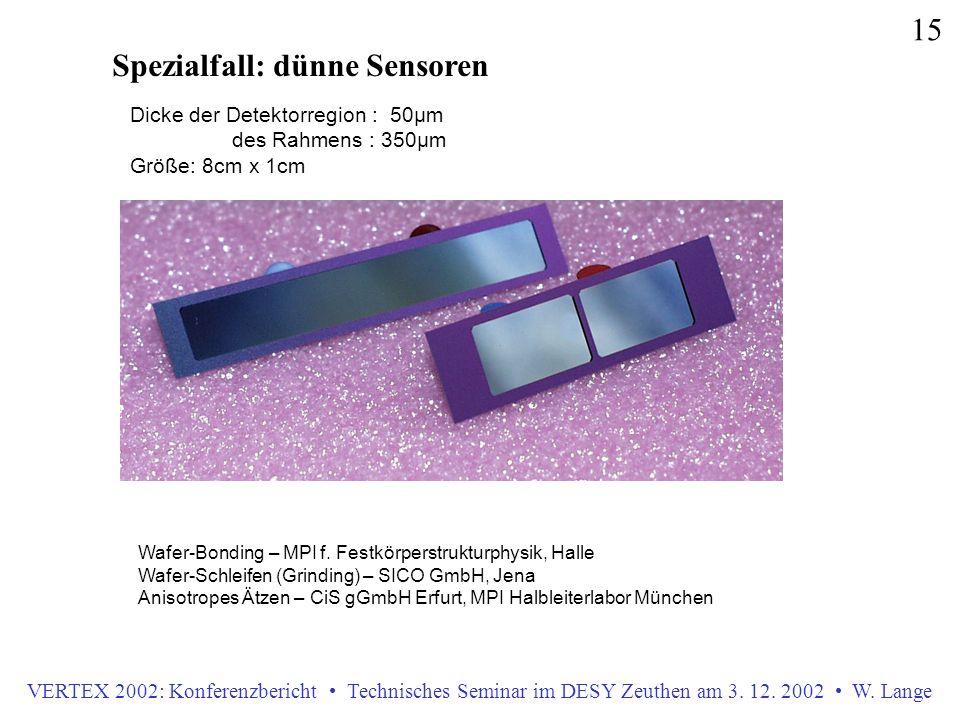 VERTEX 2002: Konferenzbericht Technisches Seminar im DESY Zeuthen am 3. 12. 2002 W. Lange 15 Spezialfall: dünne Sensoren Wafer-Bonding – MPI f. Festkö