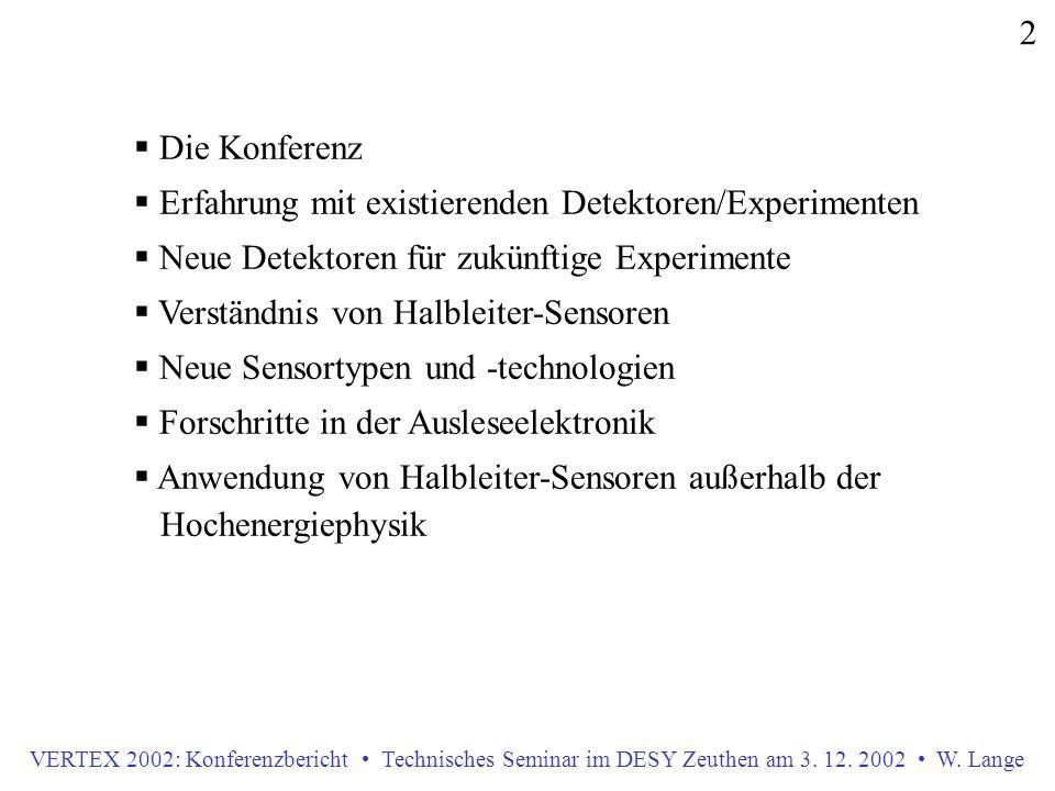  Die Konferenz  Erfahrung mit existierenden Detektoren/Experimenten  Neue Detektoren für zukünftige Experimente  Verständnis von Halbleiter-Sensoren  Neue Sensortypen und -technologien  Forschritte in der Ausleseelektronik  Anwendung von Halbleiter-Sensoren außerhalb der Hochenergiephysik 2