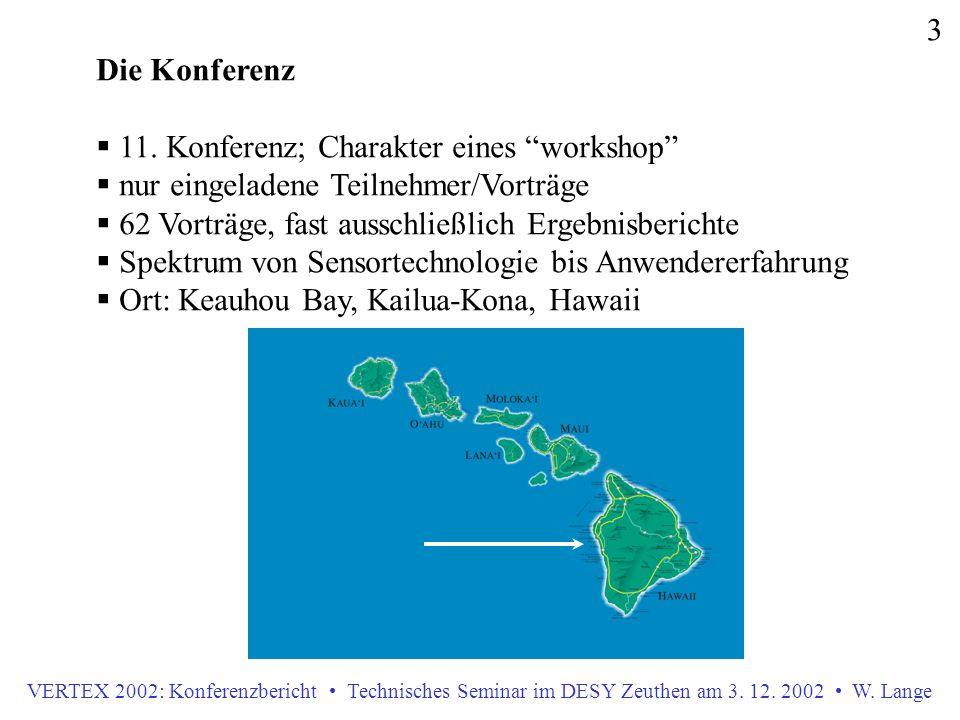"""VERTEX 2002: Konferenzbericht Technisches Seminar im DESY Zeuthen am 3. 12. 2002 W. Lange 3 Die Konferenz  11. Konferenz; Charakter eines """"workshop"""""""
