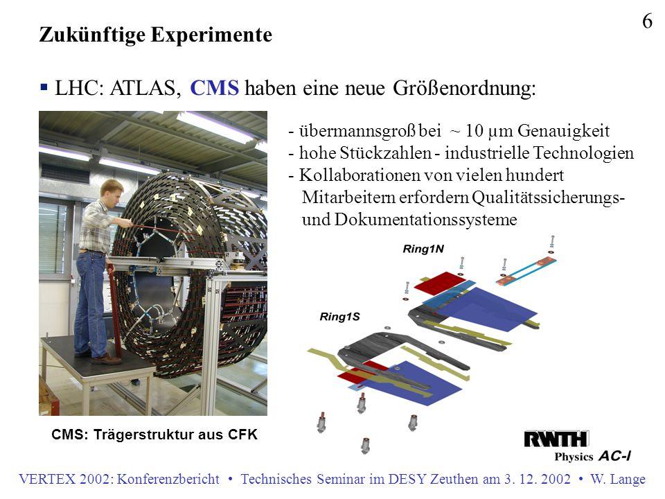 VERTEX 2002: Konferenzbericht Technisches Seminar im DESY Zeuthen am 3. 12. 2002 W. Lange 6 Zukünftige Experimente  LHC: ATLAS, CMS haben eine neue G