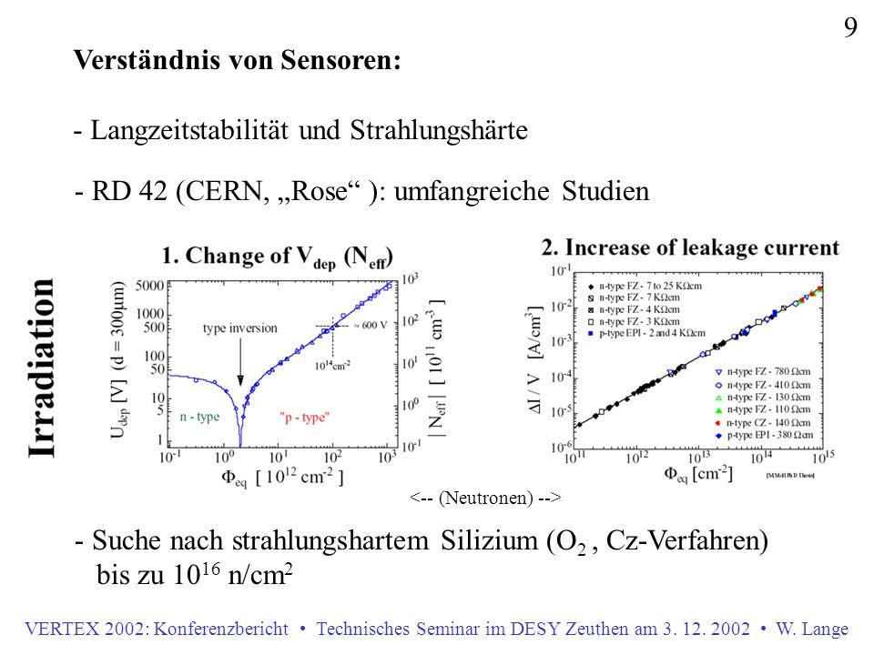 VERTEX 2002: Konferenzbericht Technisches Seminar im DESY Zeuthen am 3. 12. 2002 W. Lange 9 Verständnis von Sensoren: - Langzeitstabilität und Strahlu
