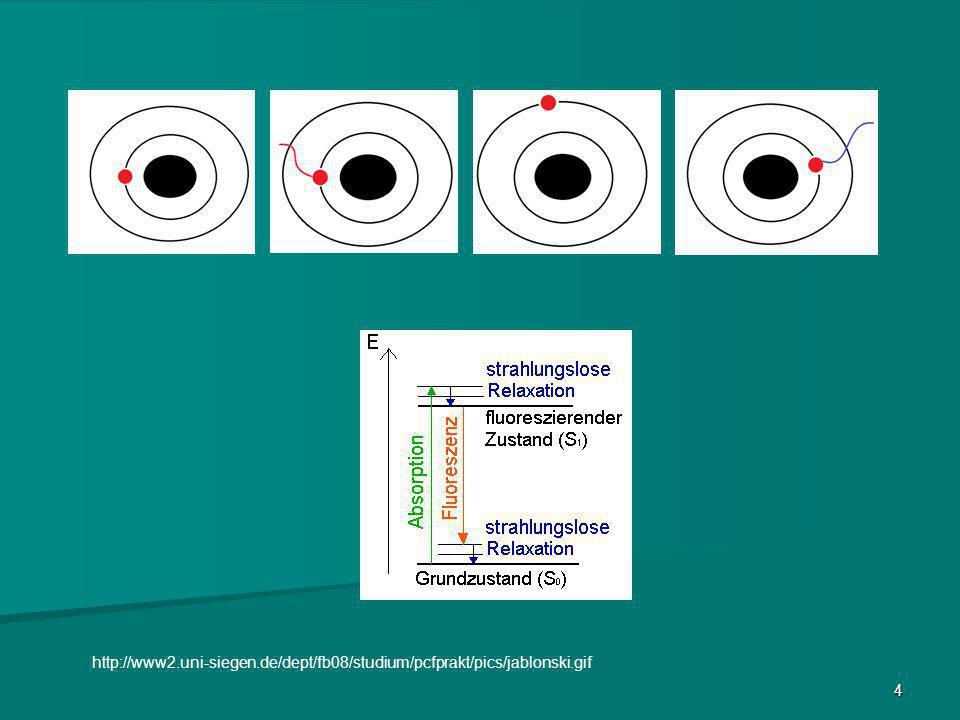 5 Stokes Shift Bei der Emission der Fluoreszenz wird zusätzlich Wärme abgegeben Folge: Anregungswellenlänge ist kleiner also Energiereicher Emissionswellenlänge ist größer also Energieärmer Der Shift (Verschiebung) beträgt 20-50 nm http://www.univie.ac.at/mikroskopie/3_fluoreszenz/img_fluoreszenz/stokes-shift.png