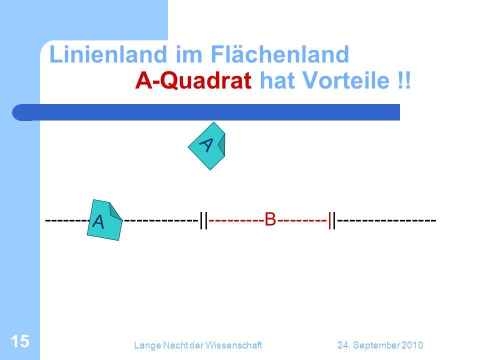 Lange Nacht der Wissenschaft24. September 2010 15 Linienland im Flächenland A-Quadrat hat Vorteile !! -------------------------||---------B--------||-