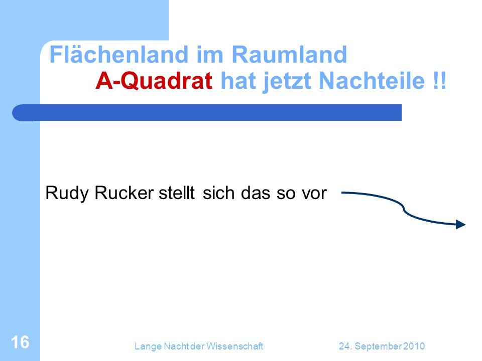 Lange Nacht der Wissenschaft24. September 2010 16 Flächenland im Raumland A-Quadrat hat jetzt Nachteile !! Rudy Rucker stellt sich das so vor