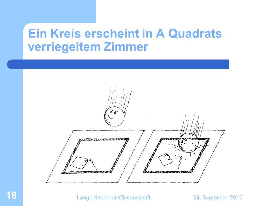 Lange Nacht der Wissenschaft24. September 2010 18 Ein Kreis erscheint in A Quadrats verriegeltem Zimmer