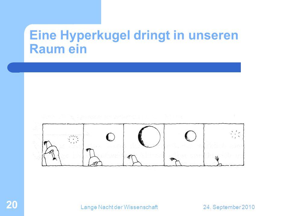 Lange Nacht der Wissenschaft24. September 2010 20 Eine Hyperkugel dringt in unseren Raum ein