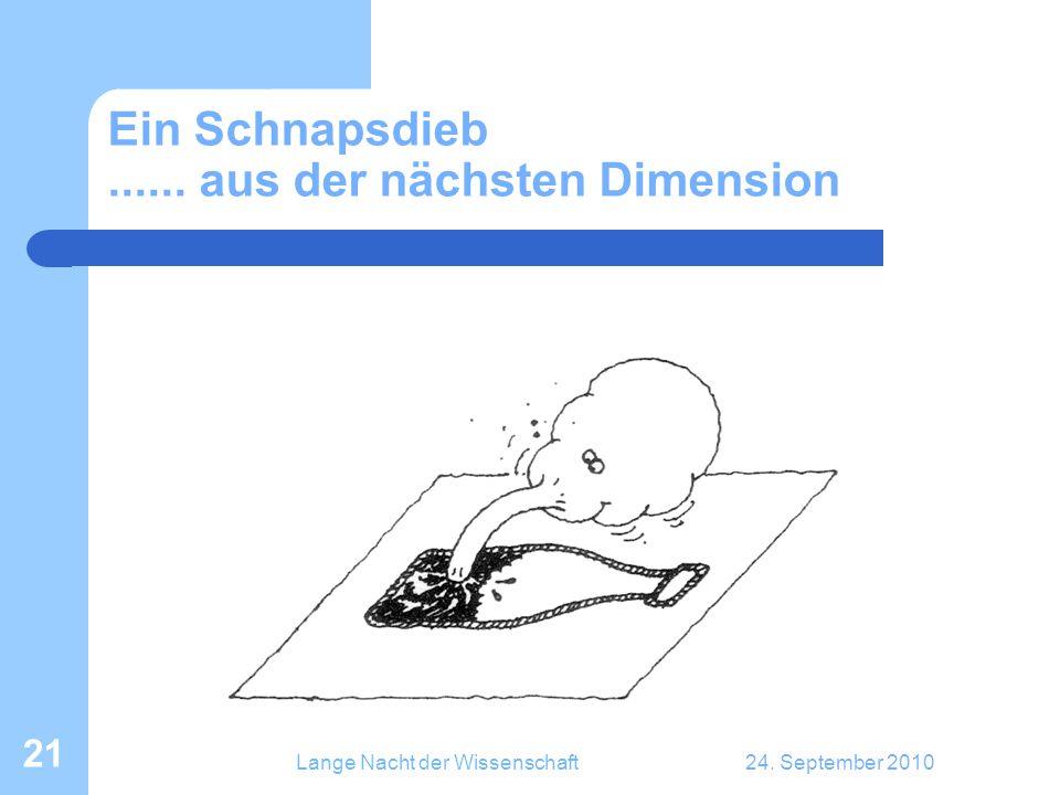 Lange Nacht der Wissenschaft24. September 2010 21 Ein Schnapsdieb...... aus der nächsten Dimension