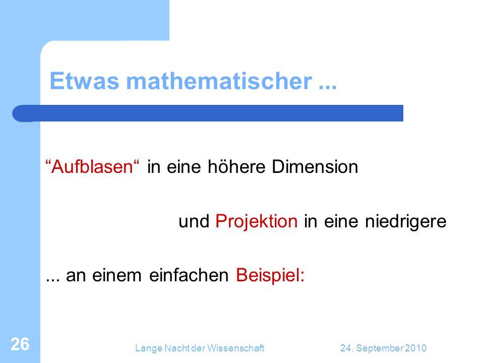 """Lange Nacht der Wissenschaft24. September 2010 26 Etwas mathematischer... """"Aufblasen"""" in eine höhere Dimension und Projektion in eine niedrigere... an"""