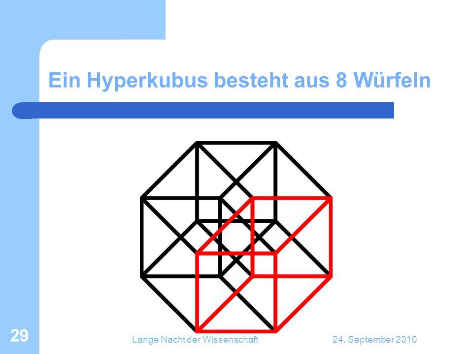 Lange Nacht der Wissenschaft24. September 2010 29 Ein Hyperkubus besteht aus 8 Würfeln
