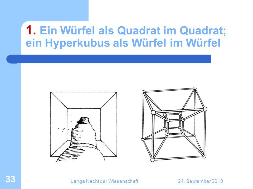 Lange Nacht der Wissenschaft24. September 2010 33 1. Ein Würfel als Quadrat im Quadrat; ein Hyperkubus als Würfel im Würfel