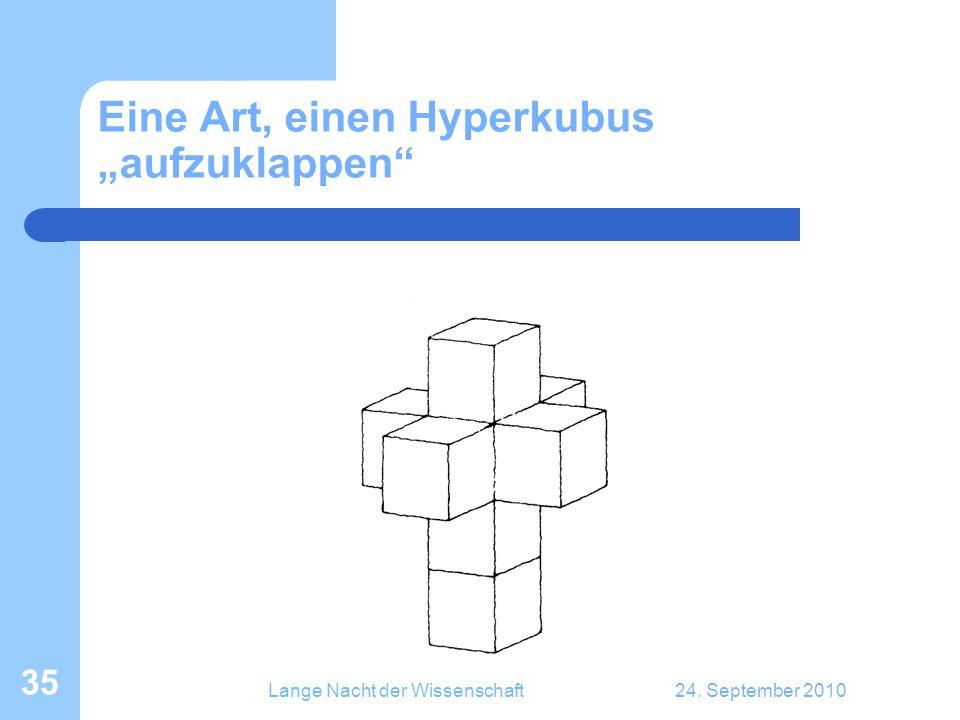 """Lange Nacht der Wissenschaft24. September 2010 35 Eine Art, einen Hyperkubus """"aufzuklappen"""""""