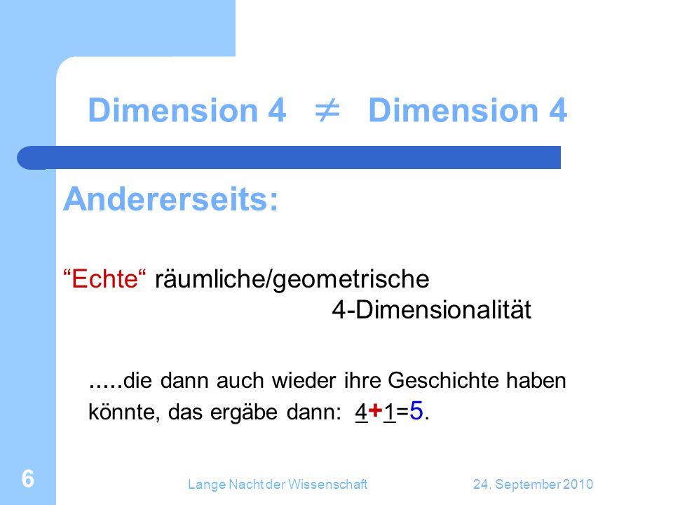 """Lange Nacht der Wissenschaft24. September 2010 6 Dimension 4  Dimension 4 Andererseits: """"Echte"""" räumliche/geometrische 4-Dimensionalität..... die dan"""