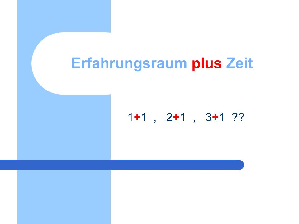 Erfahrungsraum plus Zeit 1+1, 2+1, 3+1 ??