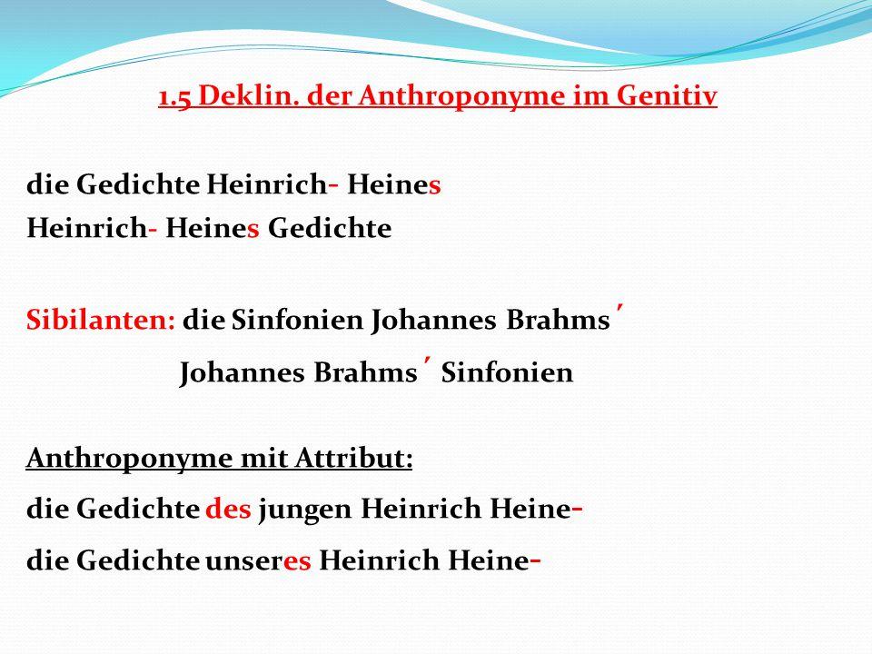 1.5 Deklin. der Anthroponyme im Genitiv die Gedichte Heinrich - Heines Heinrich- Heines Gedichte Sibilanten: die Sinfonien Johannes Brahms ´ Johannes