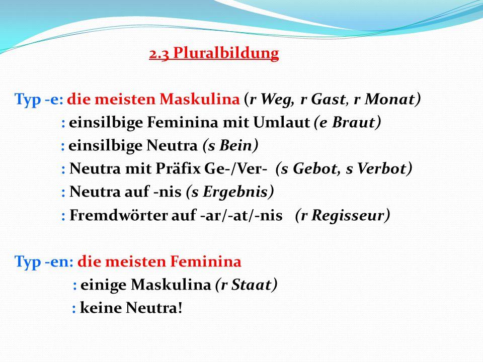 2.3 Pluralbildung Typ -e: die meisten Maskulina (r Weg, r Gast, r Monat) : einsilbige Feminina mit Umlaut (e Braut) : einsilbige Neutra (s Bein) : Neu