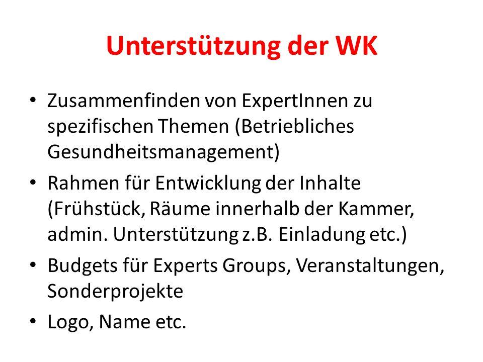 Unterstützung der WK Zusammenfinden von ExpertInnen zu spezifischen Themen (Betriebliches Gesundheitsmanagement) Rahmen für Entwicklung der Inhalte (Frühstück, Räume innerhalb der Kammer, admin.