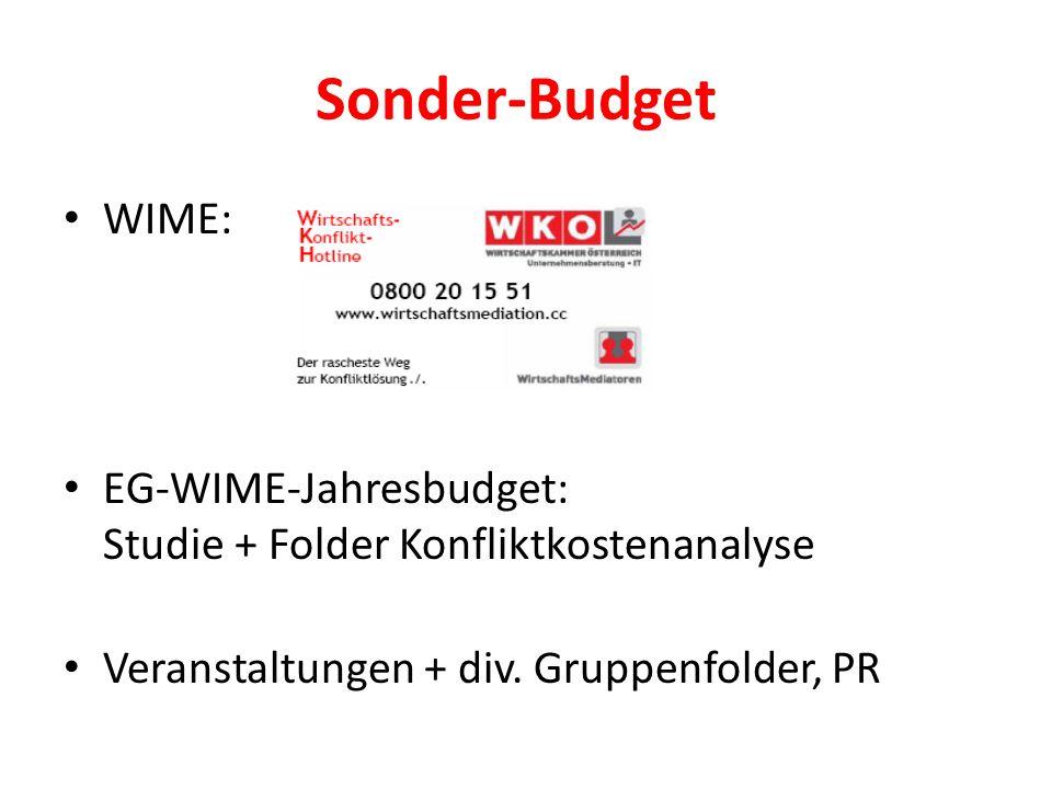 Sonder-Budget WIME: EG-WIME-Jahresbudget: Studie + Folder Konfliktkostenanalyse Veranstaltungen + div.