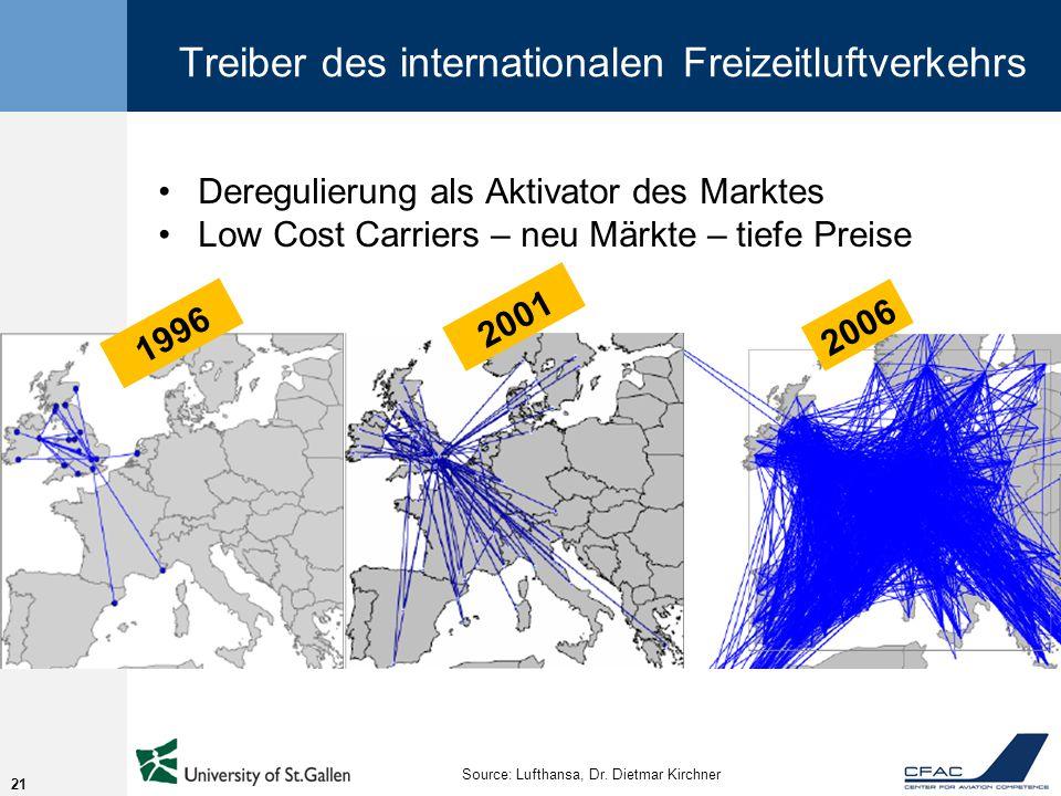 Treiber des internationalen Freizeitluftverkehrs Deregulierung als Aktivator des Marktes Low Cost Carriers – neu Märkte – tiefe Preise 21 1996 2001 2006 Source: Lufthansa, Dr.