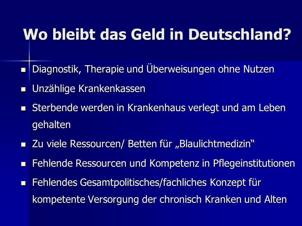 Wo bleibt das Geld in Deutschland? Wo bleibt das Geld in Deutschland? Diagnostik, Therapie und Überweisungen ohne Nutzen Diagnostik, Therapie und Über