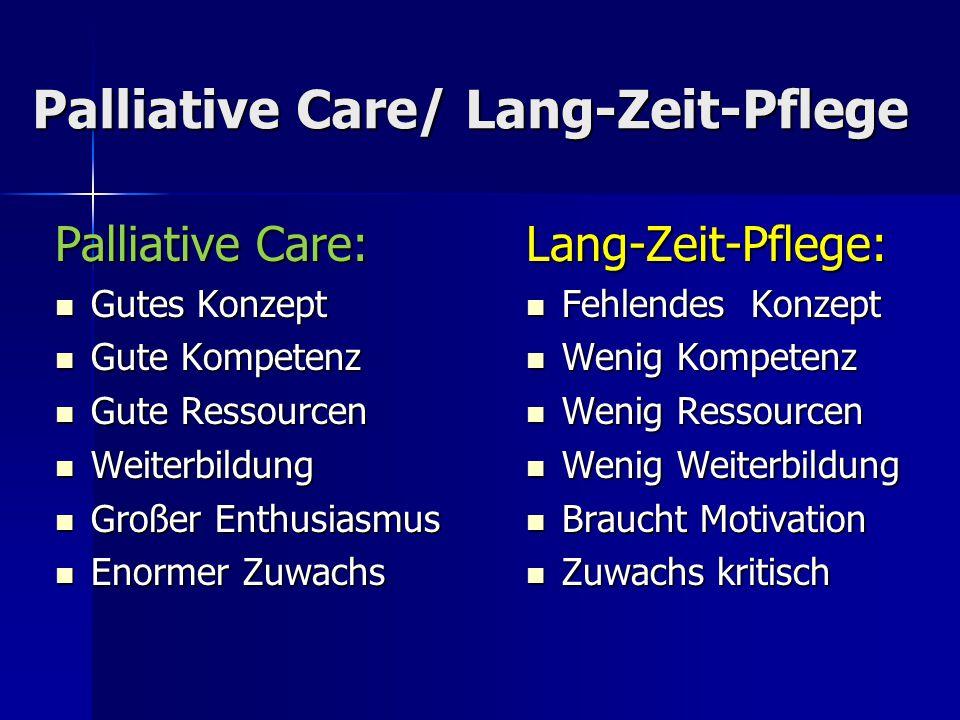 Palliative Care/ Lang-Zeit-Pflege Palliative Care: Gutes Konzept Gutes Konzept Gute Kompetenz Gute Kompetenz Gute Ressourcen Gute Ressourcen Weiterbil