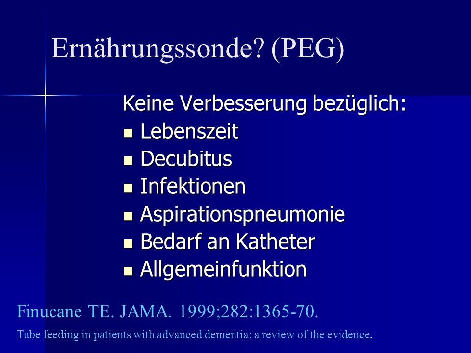 Keine Verbesserung bezüglich: Lebenszeit Lebenszeit Decubitus Decubitus Infektionen Infektionen Aspirationspneumonie Aspirationspneumonie Bedarf an Ka