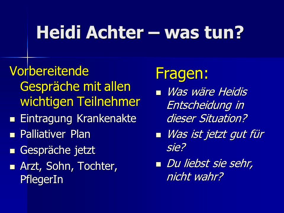 Heidi Achter – was tun? Vorbereitende Gespräche mit allen wichtigen Teilnehmer Eintragung Krankenakte Eintragung Krankenakte Palliativer Plan Palliati