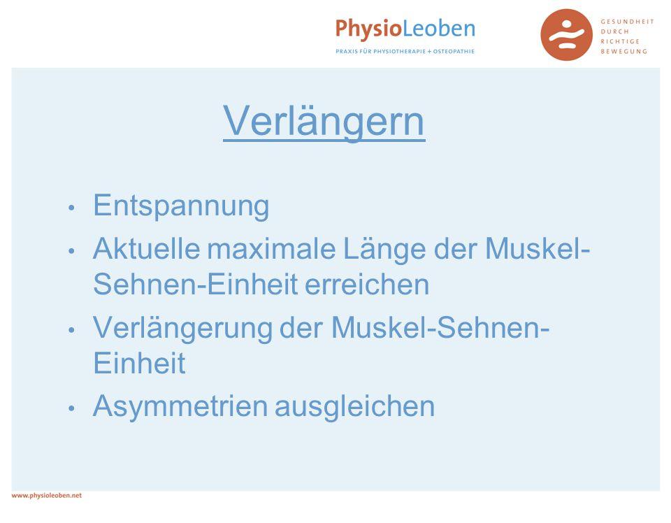 Verlängern Entspannung Aktuelle maximale Länge der Muskel- Sehnen-Einheit erreichen Verlängerung der Muskel-Sehnen- Einheit Asymmetrien ausgleichen