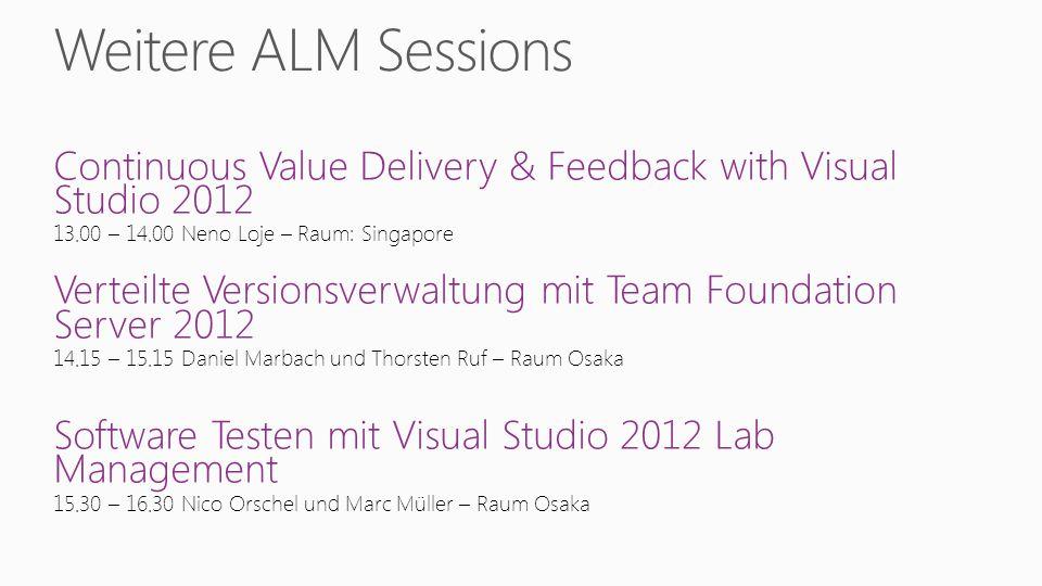 Continuous Value Delivery & Feedback with Visual Studio 2012 13.00 – 14.00 Neno Loje – Raum: Singapore Verteilte Versionsverwaltung mit Team Foundatio
