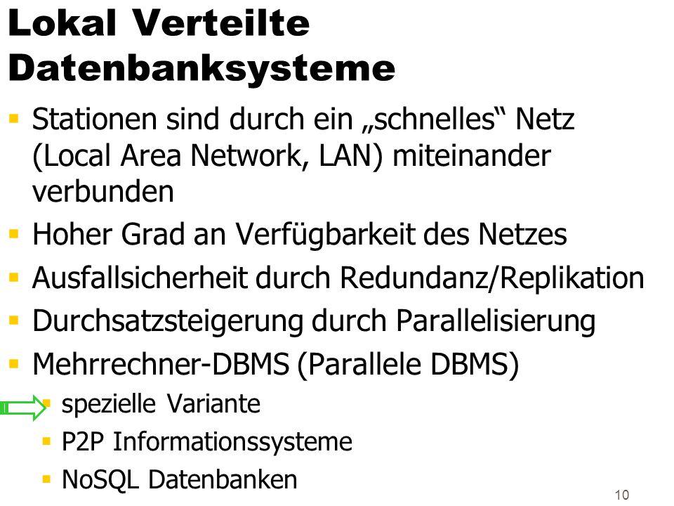 """10 Lokal Verteilte Datenbanksysteme  Stationen sind durch ein """"schnelles"""" Netz (Local Area Network, LAN) miteinander verbunden  Hoher Grad an Verfüg"""