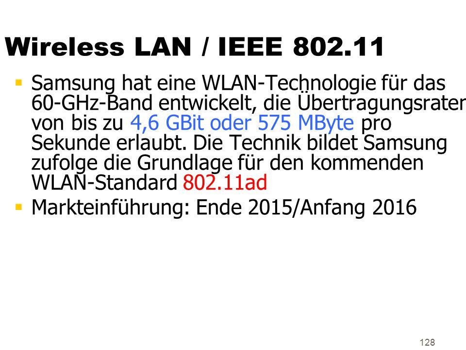 128 Wireless LAN / IEEE 802.11  Samsung hat eine WLAN-Technologie für das 60-GHz-Band entwickelt, die Übertragungsraten von bis zu 4,6 GBit oder 575
