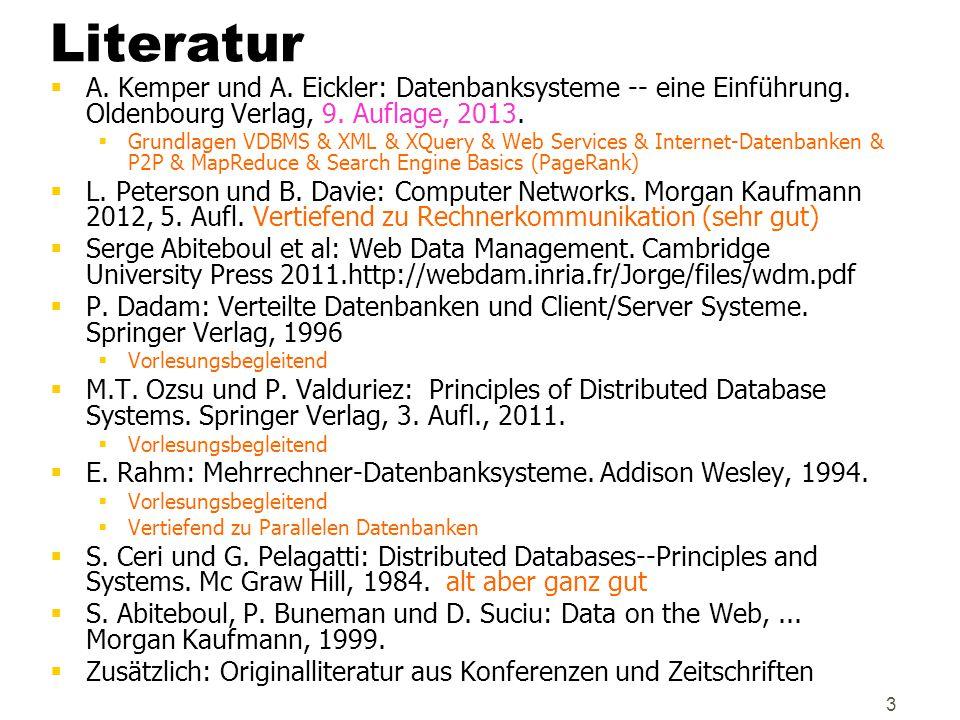 4 Gliederung  Terminologie, Einführung  Grundlagen der Datenkommunikation / Rechnernetze  Klassische Verteilte Datenbanken  Datenbankentwurf  Anfragebearbeitung  Synchronisation  Fehlertoleranz  P2P Informationssysteme  Client/Server-Architektur  Parallele Datenbanksysteme  Web-Services (SOAP, UDDI, WSDL)  Internet-Datenbanken  Web Datenverwaltung (PageRank, MapReduce)