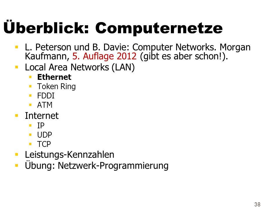 38 Überblick: Computernetze  L. Peterson und B. Davie: Computer Networks. Morgan Kaufmann, 5. Auflage 2012 (gibt es aber schon!).  Local Area Networ