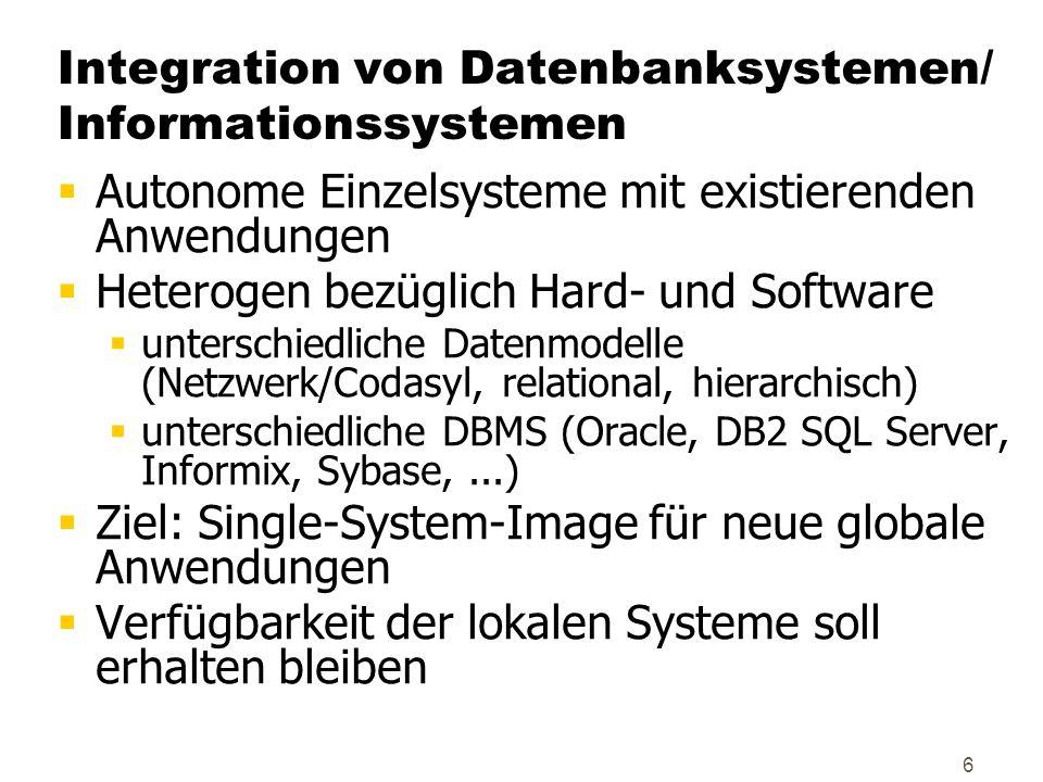 6 Integration von Datenbanksystemen/ Informationssystemen  Autonome Einzelsysteme mit existierenden Anwendungen  Heterogen bezüglich Hard- und Softw