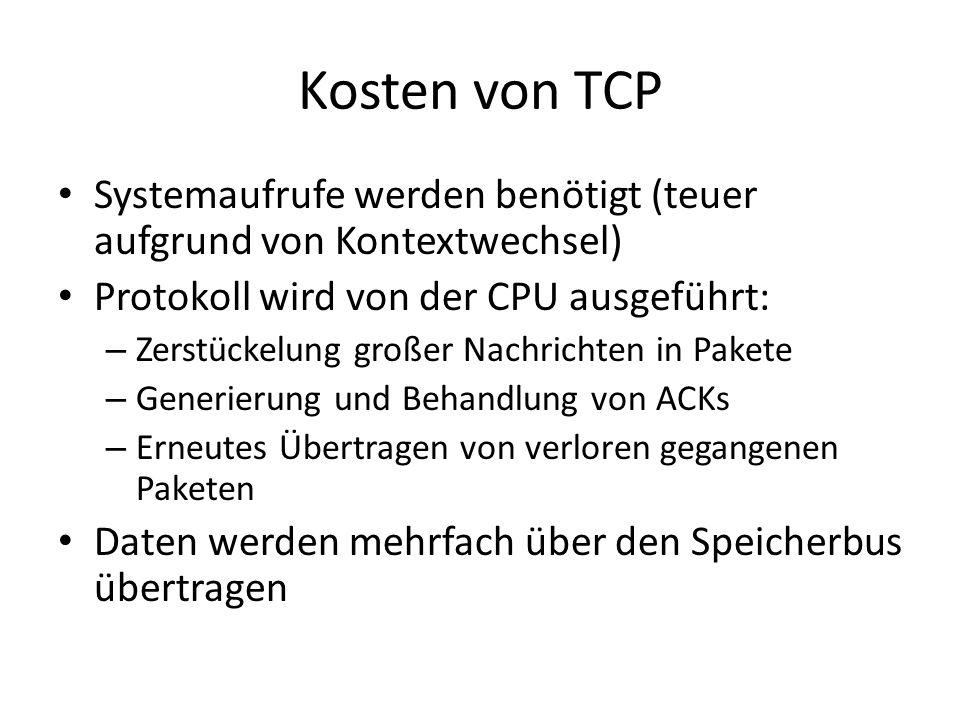 Kosten von TCP Systemaufrufe werden benötigt (teuer aufgrund von Kontextwechsel) Protokoll wird von der CPU ausgeführt: – Zerstückelung großer Nachric